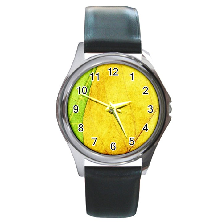 Green Yellow Leaf Texture Leaves Round Metal Watch