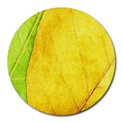 Green Yellow Leaf Texture Leaves Round Mousepads