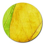 Green Yellow Leaf Texture Leaves Round Mousepads Front