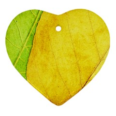 Green Yellow Leaf Texture Leaves Ornament (heart)