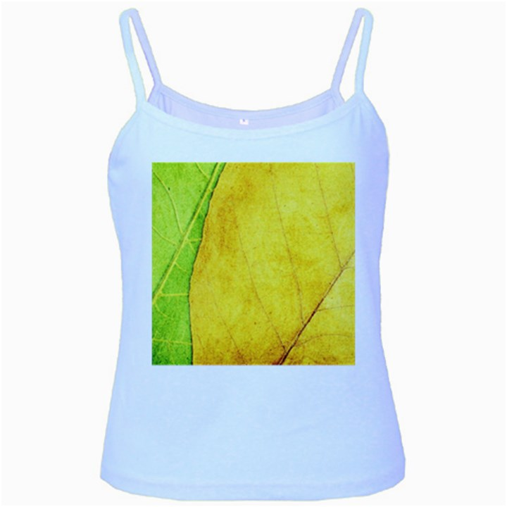 Green Yellow Leaf Texture Leaves Baby Blue Spaghetti Tank