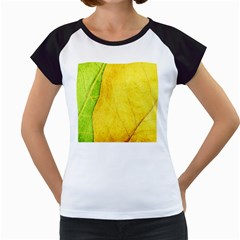 Green Yellow Leaf Texture Leaves Women s Cap Sleeve T