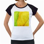 Green Yellow Leaf Texture Leaves Women s Cap Sleeve T Front