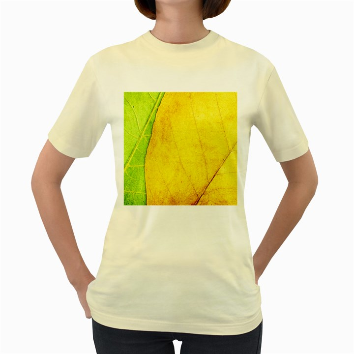 Green Yellow Leaf Texture Leaves Women s Yellow T-Shirt