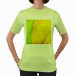 Green Yellow Leaf Texture Leaves Women s Green T-Shirt Front