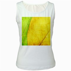 Green Yellow Leaf Texture Leaves Women s White Tank Top