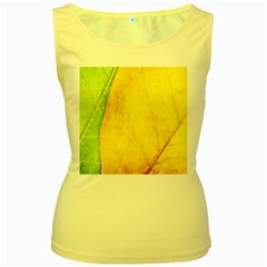 Green Yellow Leaf Texture Leaves Women s Yellow Tank Top