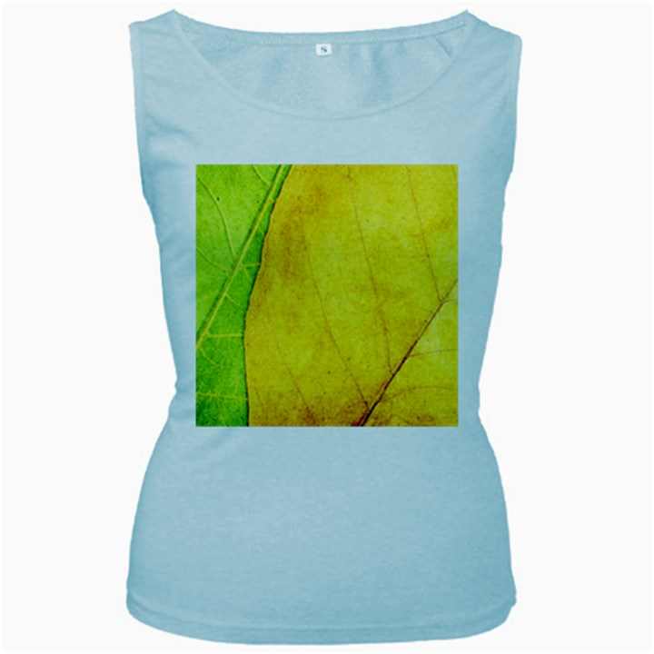 Green Yellow Leaf Texture Leaves Women s Baby Blue Tank Top