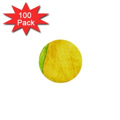 Green Yellow Leaf Texture Leaves 1  Mini Buttons (100 Pack)