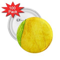 Green Yellow Leaf Texture Leaves 2 25  Buttons (100 Pack)