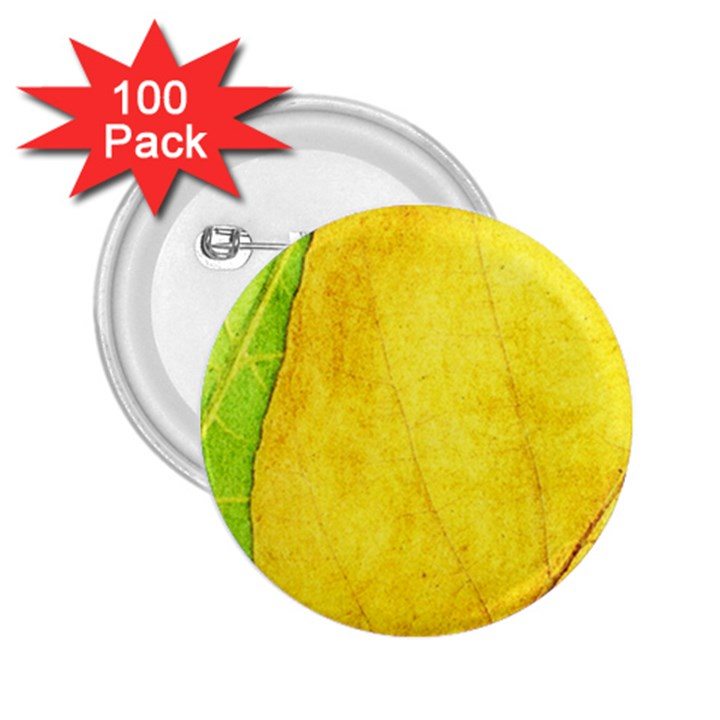 Green Yellow Leaf Texture Leaves 2.25  Buttons (100 pack)