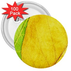 Green Yellow Leaf Texture Leaves 3  Buttons (100 Pack)