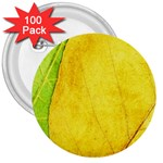 Green Yellow Leaf Texture Leaves 3  Buttons (100 pack)  Front