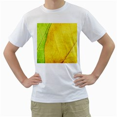 Green Yellow Leaf Texture Leaves Men s T Shirt (white) (two Sided)