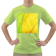 Green Yellow Leaf Texture Leaves Green T Shirt