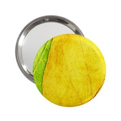 Green Yellow Leaf Texture Leaves 2 25  Handbag Mirrors