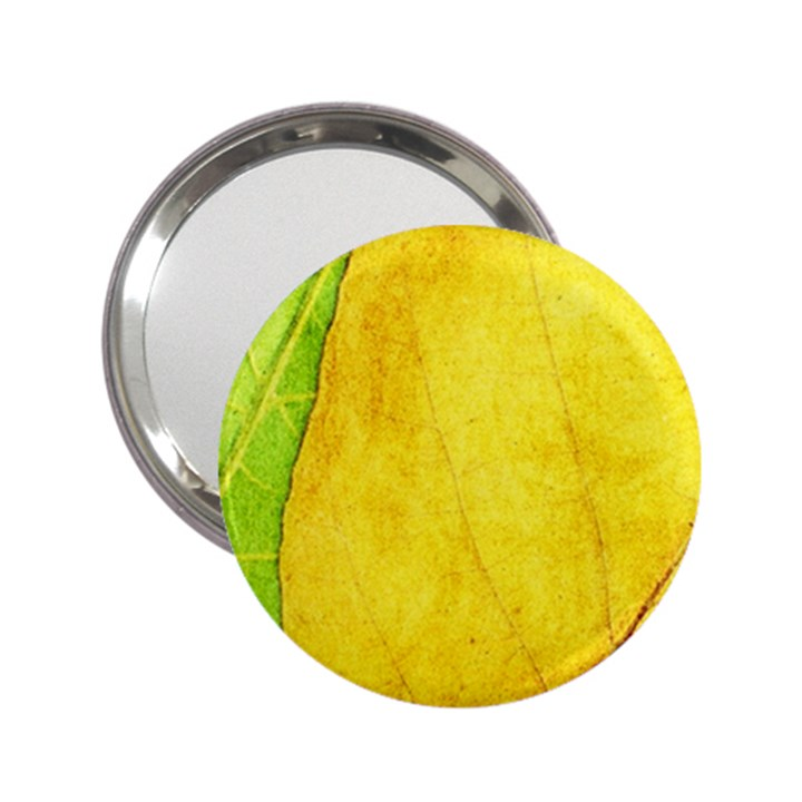 Green Yellow Leaf Texture Leaves 2.25  Handbag Mirrors