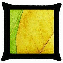 Green Yellow Leaf Texture Leaves Throw Pillow Case (black)