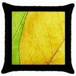 Green Yellow Leaf Texture Leaves Throw Pillow Case (Black) Front