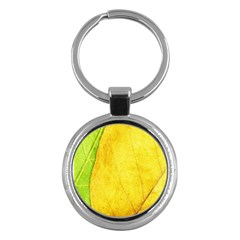 Green Yellow Leaf Texture Leaves Key Chains (round)