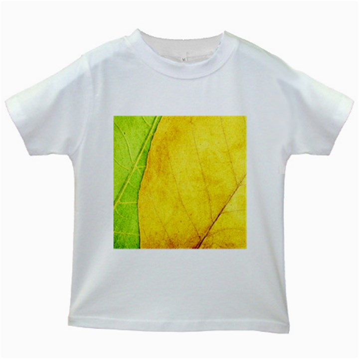 Green Yellow Leaf Texture Leaves Kids White T-Shirts