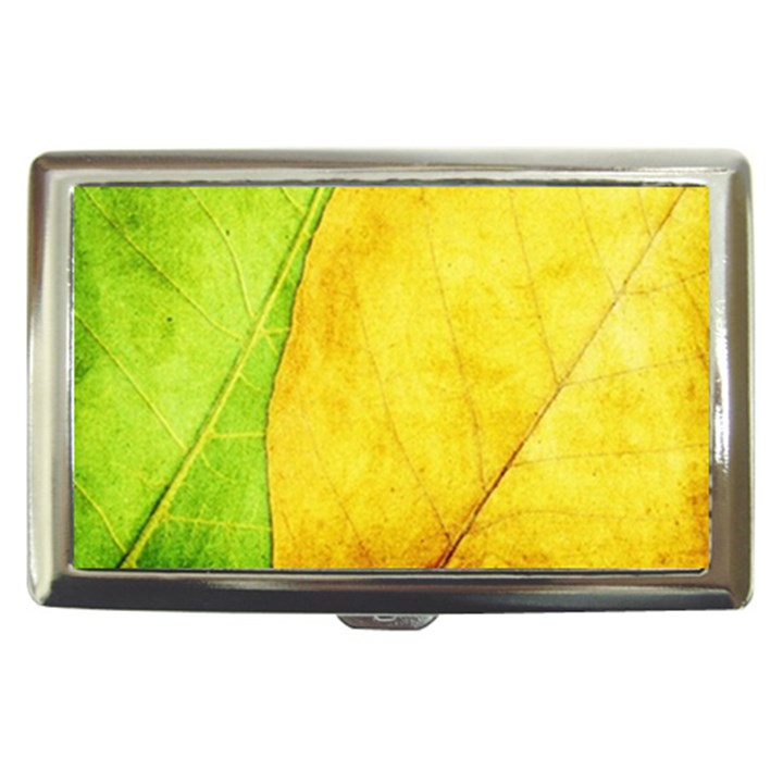 Green Yellow Leaf Texture Leaves Cigarette Money Case
