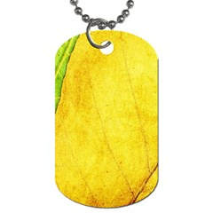 Green Yellow Leaf Texture Leaves Dog Tag (two Sides) by Alisyart