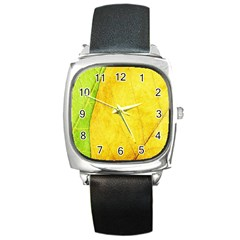 Green Yellow Leaf Texture Leaves Square Metal Watch