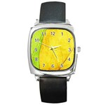 Green Yellow Leaf Texture Leaves Square Metal Watch Front