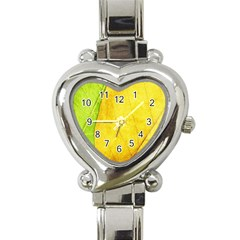 Green Yellow Leaf Texture Leaves Heart Italian Charm Watch