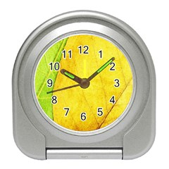 Green Yellow Leaf Texture Leaves Travel Alarm Clock by Alisyart