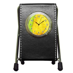 Green Yellow Leaf Texture Leaves Pen Holder Desk Clock