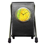 Green Yellow Leaf Texture Leaves Pen Holder Desk Clock Front