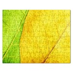 Green Yellow Leaf Texture Leaves Rectangular Jigsaw Puzzl Front