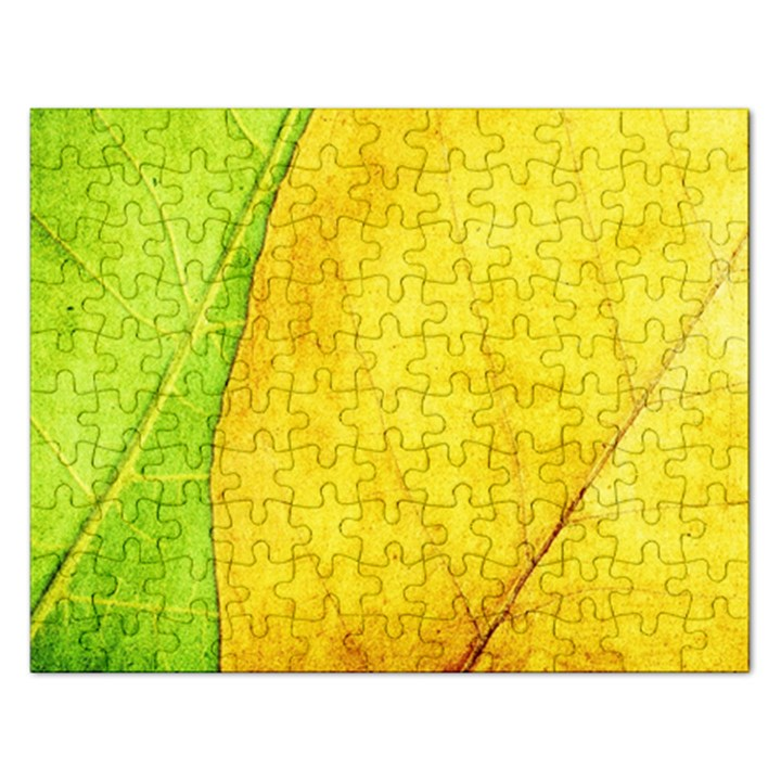Green Yellow Leaf Texture Leaves Rectangular Jigsaw Puzzl