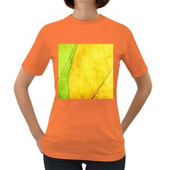 Green Yellow Leaf Texture Leaves Women s Dark T Shirt