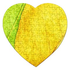 Green Yellow Leaf Texture Leaves Jigsaw Puzzle (heart) by Alisyart
