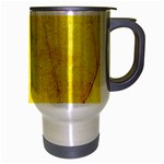 Green Yellow Leaf Texture Leaves Travel Mug (Silver Gray) Right