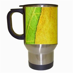 Green Yellow Leaf Texture Leaves Travel Mugs (white) by Alisyart