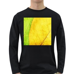 Green Yellow Leaf Texture Leaves Long Sleeve Dark T Shirt