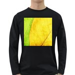 Green Yellow Leaf Texture Leaves Long Sleeve Dark T-Shirt Front