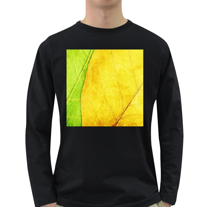 Green Yellow Leaf Texture Leaves Long Sleeve Dark T-Shirt