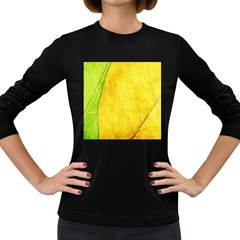 Green Yellow Leaf Texture Leaves Women s Long Sleeve Dark T Shirt