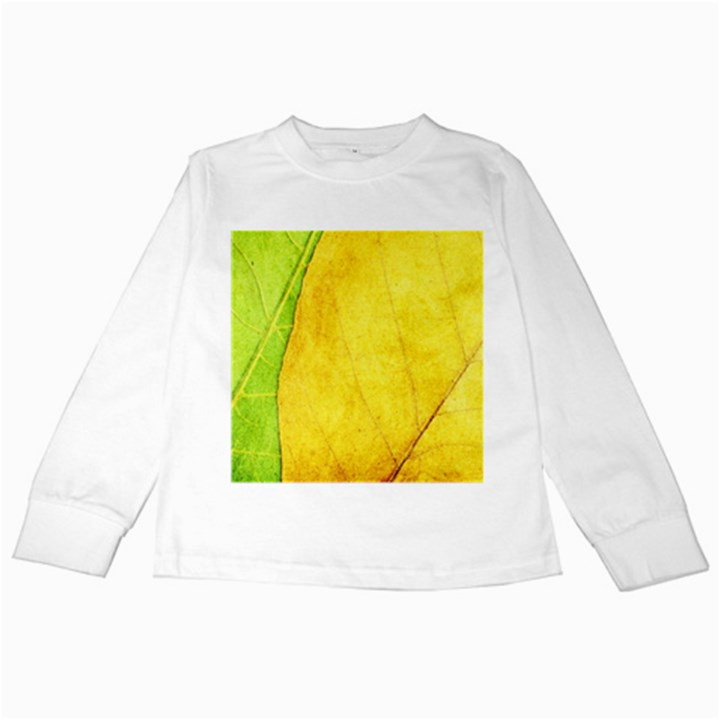 Green Yellow Leaf Texture Leaves Kids Long Sleeve T-Shirts