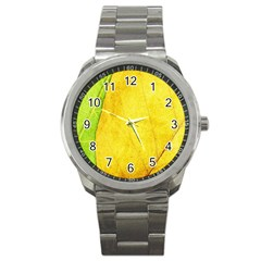 Green Yellow Leaf Texture Leaves Sport Metal Watch