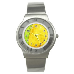 Green Yellow Leaf Texture Leaves Stainless Steel Watch by Alisyart