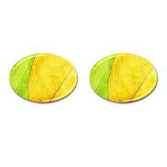 Green Yellow Leaf Texture Leaves Cufflinks (oval) by Alisyart