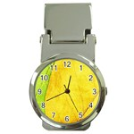Green Yellow Leaf Texture Leaves Money Clip Watches Front