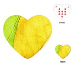 Green Yellow Leaf Texture Leaves Playing Cards (Heart) Front