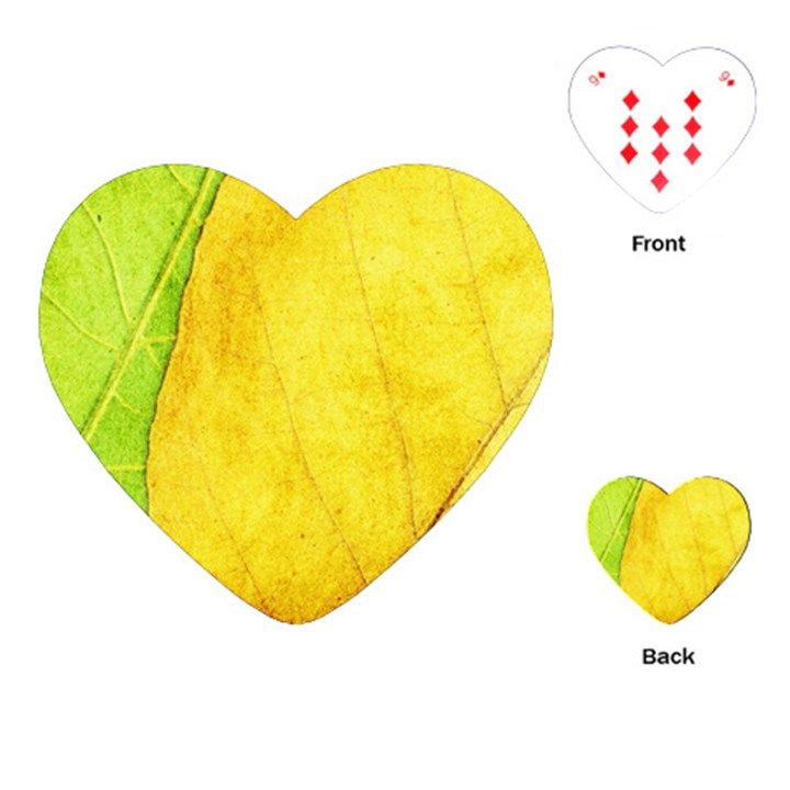 Green Yellow Leaf Texture Leaves Playing Cards (Heart)